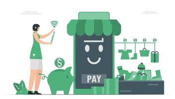 Woman uses smartphone to purchase items with digital money. vector