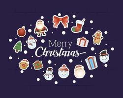 tarjeta de feliz navidad con personajes en forma ovalada vector
