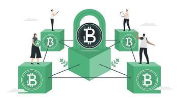 la gente usa blockchain para hacer una base de datos en conjunto. vector