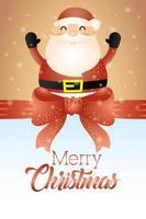 tarjeta de feliz navidad con lindo santa claus vector