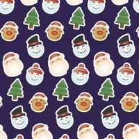 merry christmas card with characters heads pattern vector