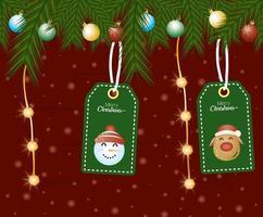lindas etiquetas navideñas colgando vector