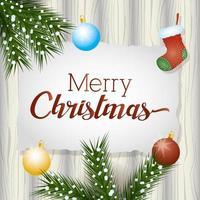 Tarjeta de feliz navidad con guirnaldas y decoración de bolas. vector