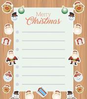 tarjeta de feliz navidad con hoja de letras y personajes vector