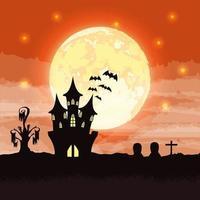 escena de la noche oscura de halloween con castillo vector
