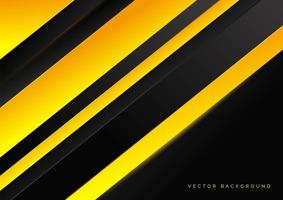 Abstract technology striped overlapping diagonal lines pattern yellow and black color tone background with yellow light effect. vector