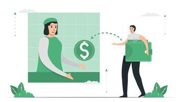 Virtual banking is a bank that offers banking services through electronic channels. vector