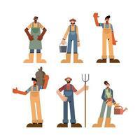 Farm people icon collection vector design