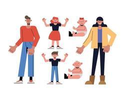 Family icon collection vector design