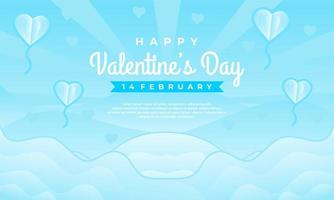 happy Valentine's day sale banner template with blue background vector