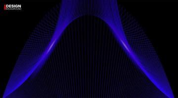 Fondo de vector geométrico abstracto. diseño de onda de línea azul sobre un fondo negro.