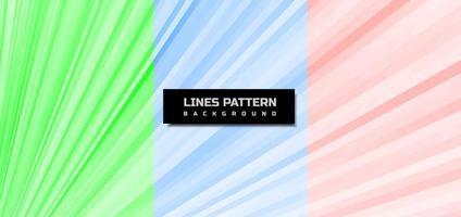 conjunto de fondo abstracto verde, azul, rojo, líneas diagonales. vector