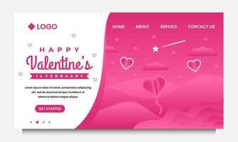 Plantilla de diseño de página de destino de feliz día de San Valentín con paisaje y fondo rosa vector