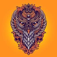 King Owl Colorful Ornaments Illustration vector