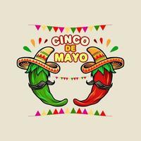 cinco de mayo dibujos animados mexicano diseño de ají verde y rojo vector