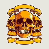 Human Art Skull with Banner Vector Illustration