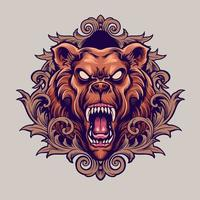 Angry Bear Mascot With Ornaments Illustration vector