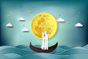 Paper cut and digital craft style of lovers in boat vector