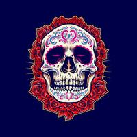 Mexican Skull Mascot with Roses Illustration vector