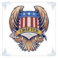 Vintage emblem with wings and American flag shield vector