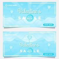 Plantilla de banner de venta de feliz día de san valentín con fondo azul vector