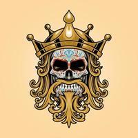 King Dia De Los Muertos Skull Gold Illustration vector