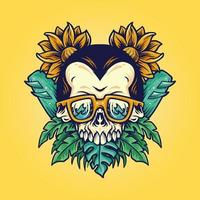 Skull Summer Beach Flowers Design vector