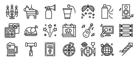conjunto de iconos de línea de elementos de fiesta de año nuevo vector