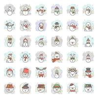 Snowman with background icon set, vector illustration