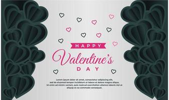 happy Valentine's day banner template with dark and grey background vector