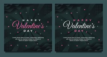 happy Valentine's day greeting card and social media post template with dark background vector