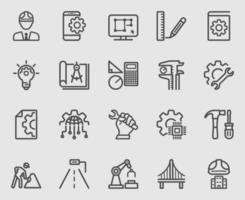 conjunto de iconos de línea de ingeniería vector