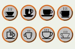 Set of coffee cup, tea cup, water cup in flat style vector