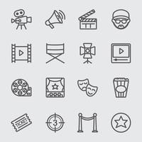 conjunto de iconos de línea de la industria cinematográfica