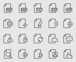 conjunto de iconos de línea de archivo y documento