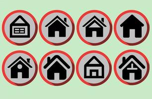 Set of Home icons in flat style vector