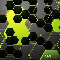 Abstract neon yellow and black geometric shape background vector