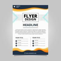 Blue and white wavy business flyer template