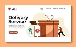 Ilustración de moderno diseño plano del servicio de entrega. se puede utilizar para sitios web y sitios web móviles o páginas de destino. ilustración vectorial vector