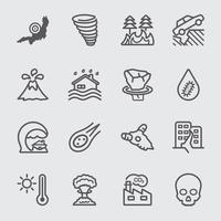 Disaster line icons set vector