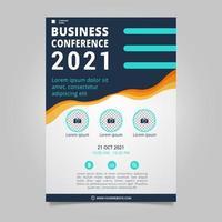 Plantilla de folleto de conferencia de negocios plana con formas onduladas vector