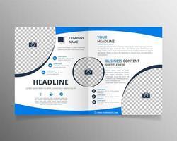 Flat blue business bifold brochure vector