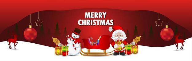 Christmas greeting card design with creative santa vector