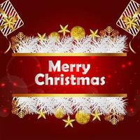 fondo rojo para feliz navidad con bolas doradas vector