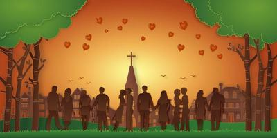 Couples with heart hot air balloons landscape vector