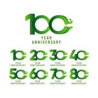Ilustración de diseño de plantilla de vector de celebración de flujo de aniversario de 100 años