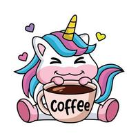 Expression of a cute cartoon unicorn happy with a cup of coffee vector