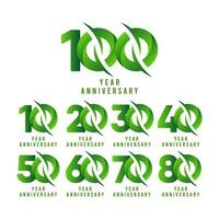 Ilustración de diseño de plantilla de vector de celebración verde de aniversario de 100 años