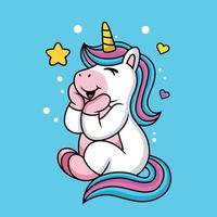 Expression of a cute cartoon unicorn being happy in love vector