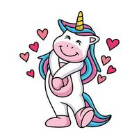 Happy Unicorn Cartoon with Cute Expression and Hearts vector